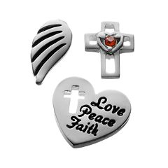 Blue La Rue Crystal Silver-Plated Wing, 'Love, Peace, Faith' Heart & Openwork Cross Charm Set