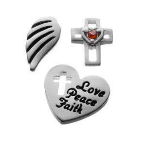 "Blue La Rue Crystal Silver-Plated Wing, ""Love, Peace, Faith"" Heart & Openwork Cross Charm Set"