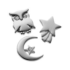 Blue La Rue Crystal Silver-Plated Moon & Star, Shooting Star & Owl Charm Set