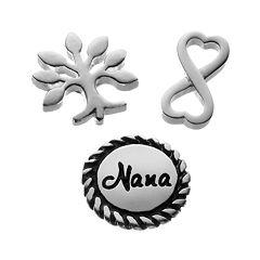 Blue La Rue Silver-Plated Tree, Infinity Symbol & 'Nana' Disc Charm Set