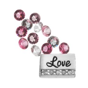 """Blue La Rue Silver-Plated """"Love"""" & Crystal Charm Set - Made with Swarovski Crystals"""