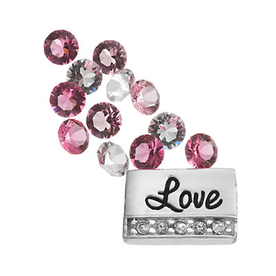 "Blue La Rue Silver-Plated ""Love"" & Crystal Charm Set - Made with Swarovski Crystals"