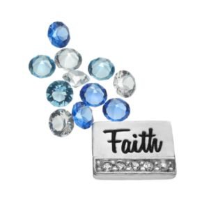 "Blue La Rue Silver-Plated ""Faith"" & Crystal Charm Set - Made with Swarovski Crystals"