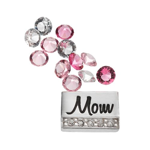 "Blue La Rue Silver-Plated ""Mom"" & Crystal Charm Set - Made with Swarovski Crystals"