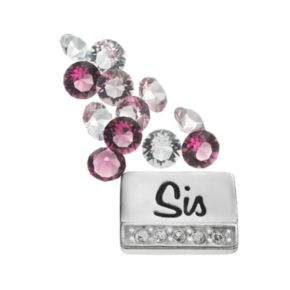 """Blue La Rue Silver-Plated """"Sis"""" & Crystal Charm Set - Made with Swarovski Crystals"""