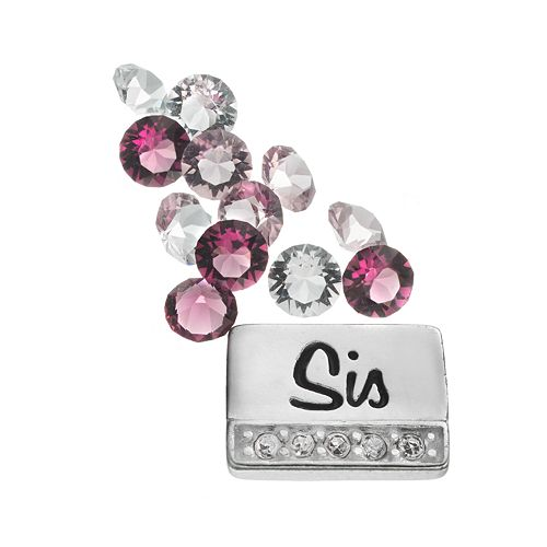 "Blue La Rue Silver-Plated ""Sis"" & Crystal Charm Set - Made with Swarovski Crystals"