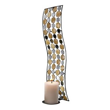 Mirrored Circle Metal Candle Wall Sconce