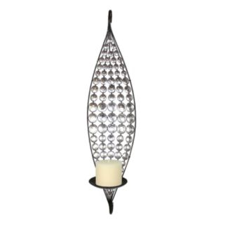 Crystal Circle Metal Candle Wall Sconce