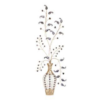 Leaf Vase Metal Wall Decor