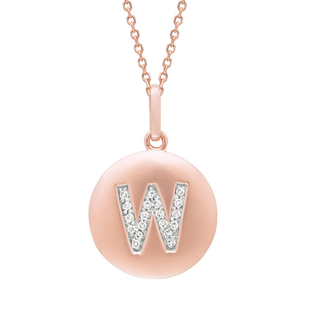 Diamond Accent 14k Rose Gold-Plated Silver Initial Pendant Necklace