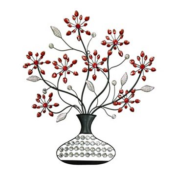 Red Floral Vase Metal Wall Decor
