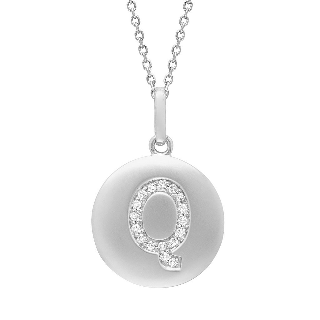 Diamond Accent Sterling Silver Initial Pendant Necklace