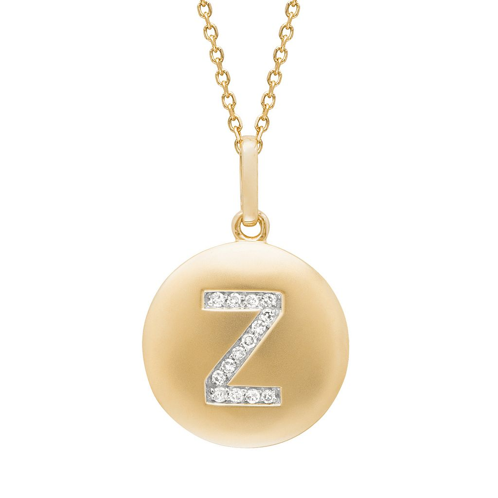 Diamond Accent 14k Yellow Gold-Plated Silver Initial Pendant Necklace