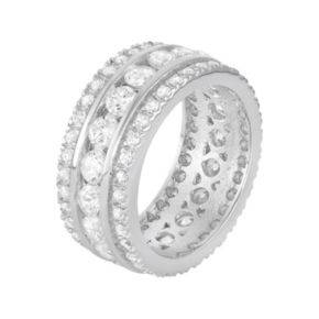 Journee Collection Sterling Silver Cubic Zirconia Eternity Wedding Ring
