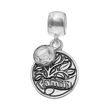 Individuality Beads Crystal Sterling Silver Family Tree Disc Charm
