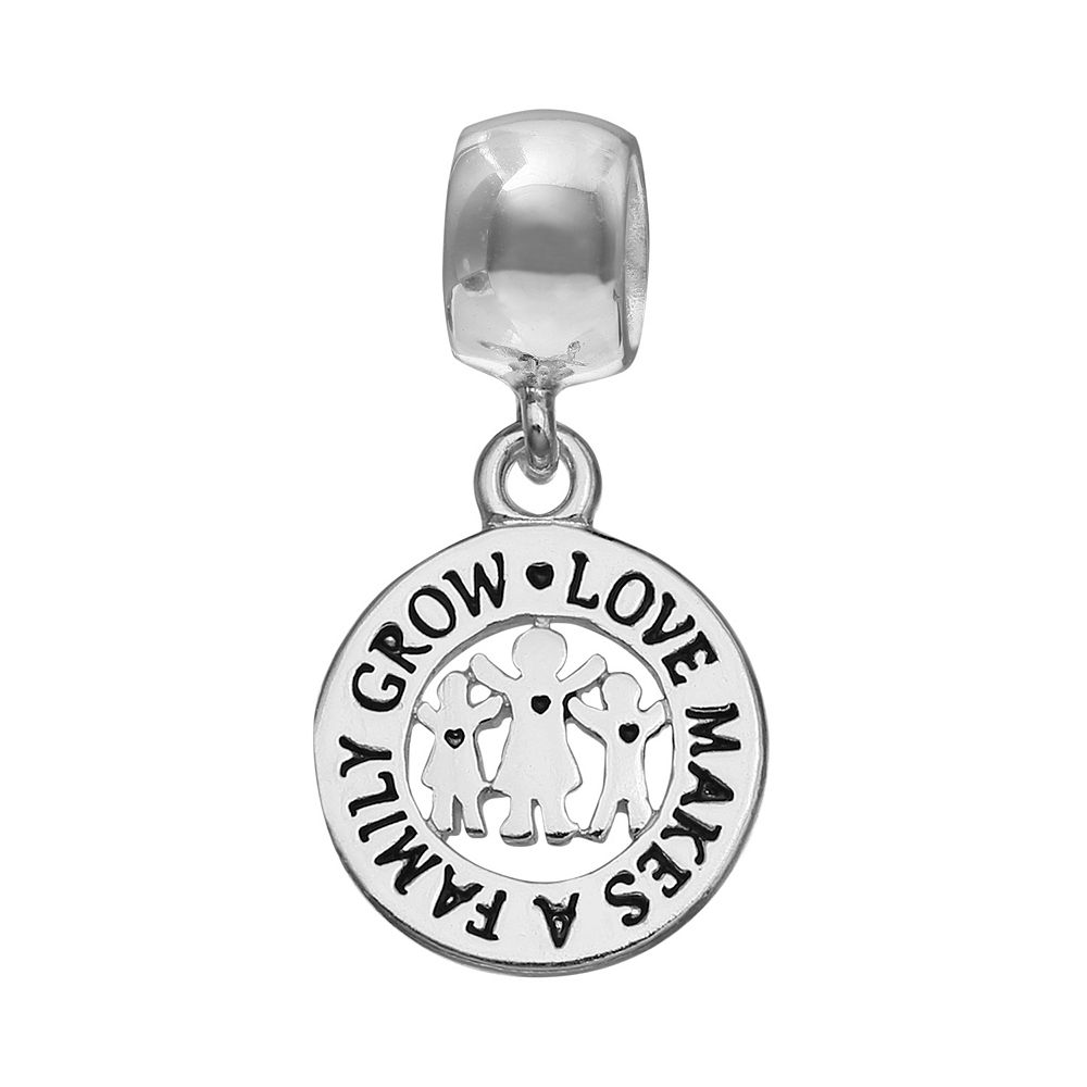 """Individuality Beads Sterling Silver """"Love Makes A Family Grow"""" Disc Charm"""
