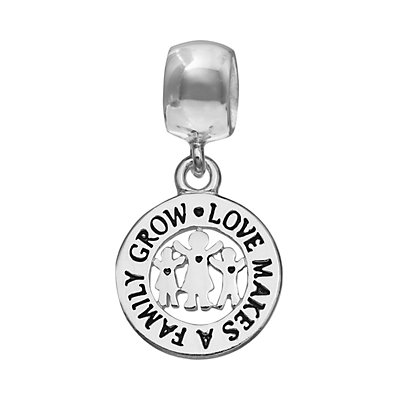 "Individuality Beads Sterling Silver ""Love Makes A Family Grow"" Disc Charm"