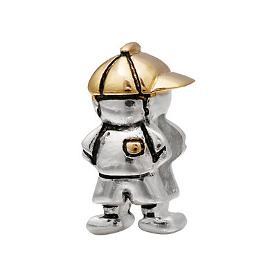 Individuality Beads Sterling Silver and 14k Gold Over Silver Boy Bead