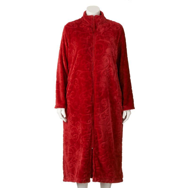 Croft & Barrow Plush Zip Lounger Robe - Women's Plus Size