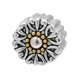Individuality Beads Sterling Silver and 14k Gold Over Silver Flower Bead