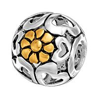 Individuality Beads Sterling Silver & 14k Gold Over Silver Openwork Heart & Flower Spacer Bead