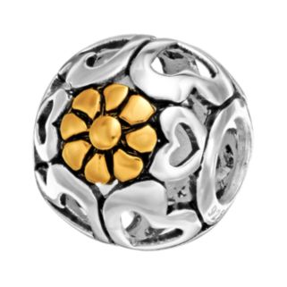 Individuality Beads Sterling Silver and 14k Gold Over Silver Openwork Heart and Flower Spacer Bead
