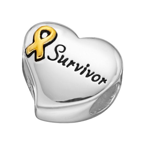 "Individuality Beads Sterling Silver & 14k Gold Over Silver ""Survivor"" Awareness Ribbon Heart Bead"