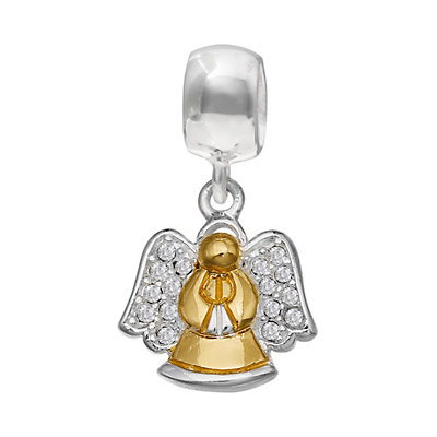 Individuality Beads Sterling Silver & 14k Gold Over Silver Crystal Angel Charm
