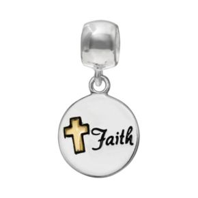"Individuality Beads Sterling Silver & 14k Gold Over Silver ""Faith"" Disc Charm"