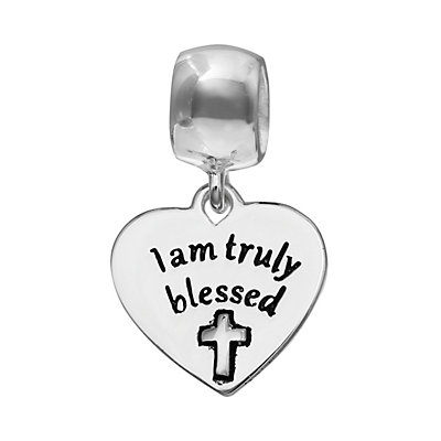 """Individuality Beads Sterling Silver """"I Am Truly Blessed"""" Heart Charm"""