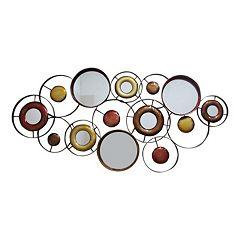 Abstract Mirrored Circles Metal Wall Decor