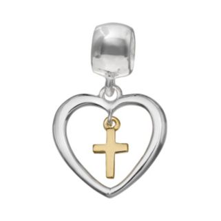 Individuality Beads Sterling Silver & 14k Gold Over Silver Heart & Cross Charm