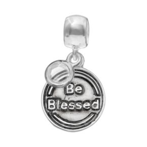 "Individuality Beads Crystal Sterling Silver ""Faith"" Cross Disc Charm"
