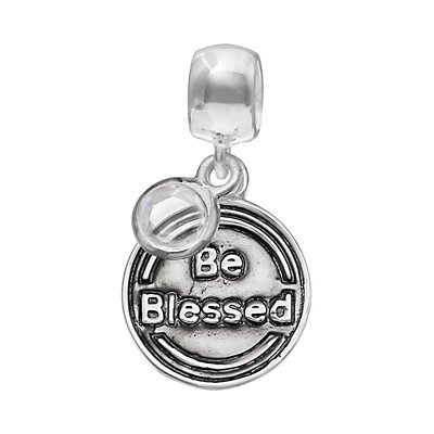 """Individuality Beads Crystal Sterling Silver """"Faith"""" Cross Disc Charm"""