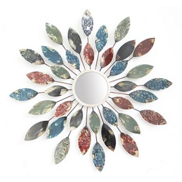 Patterned Leaves Sunburst Wall Mirror