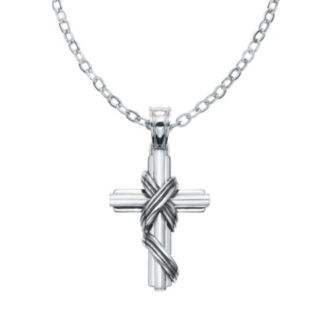 AXL by Triton Stainless Steel Textured Cross Pendant Necklace - Men