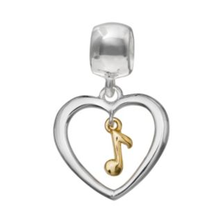 Individuality Beads Sterling Silver & 14k Gold Over Silver Heart & Music Note Charm
