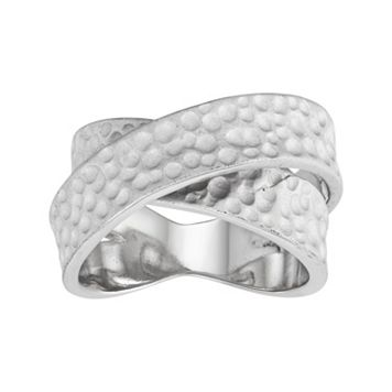 Journee Collection Sterling Silver Hammered Crisscross Ring