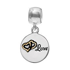 Individuality Beads Crystal Sterling Silver & 14k Gold Over Silver 'Love' Tree Disc Charm
