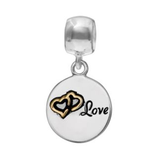 "Individuality Beads Crystal Sterling Silver & 14k Gold Over Silver ""Love"" Tree Disc Charm"