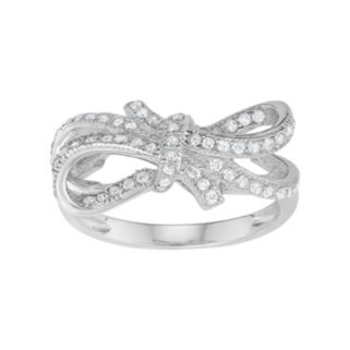 Journee Collection Sterling Silver Cubic Zirconia Bow Ring