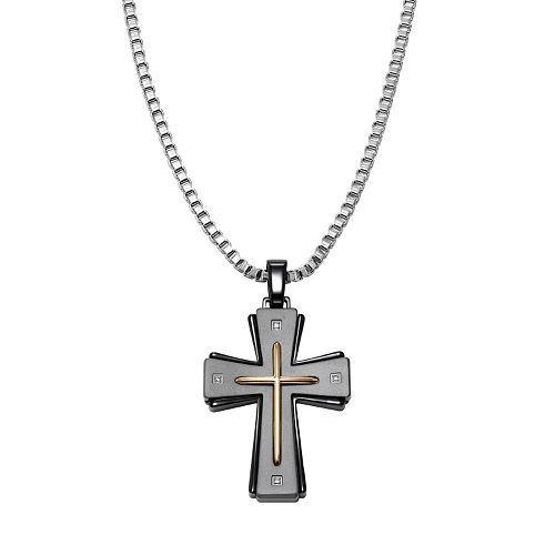AXL by Triton Diamond Accent Stainless Steel Tri-Tone Cross Pendant Necklace - Men