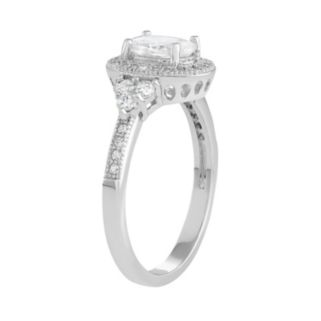 Journee Collection Sterling Silver Cubic Zirconia Oval Halo Engagement Ring