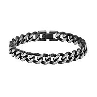AXL by Triton Stainless Steel Textured Curb Chain Bracelet - Men
