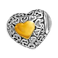 Individuality Beads Sterling Silver & 14k Gold Over Silver Openwork Heart Spacer Bead