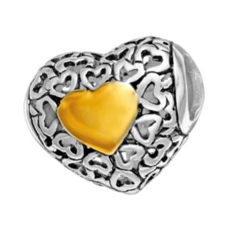 Individuality Beads Sterling Silver and 14k Gold Over Silver Openwork Heart Spacer Bead