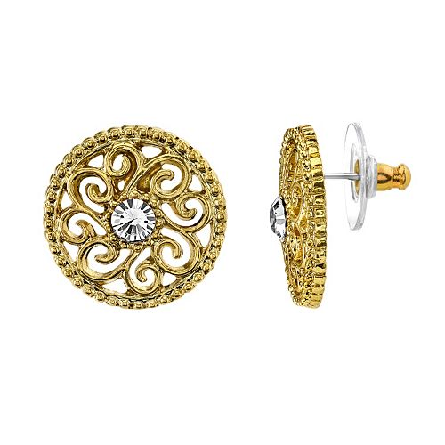 1928 Filigree Circle Stud Earrings