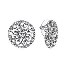 1928 Filigree Circle Stud Earrings