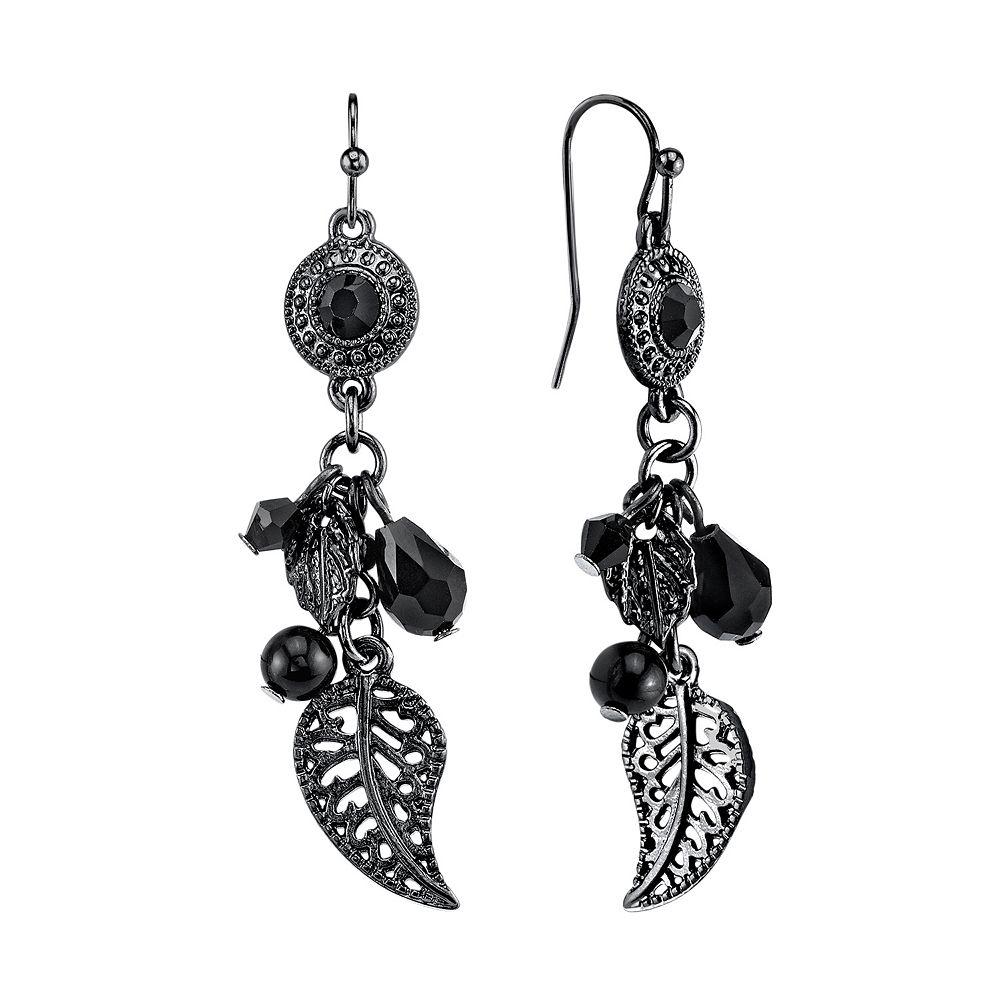 1928 Bead & Leaf Drop Earrings