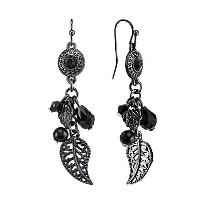1928 Bead and Leaf Drop Earrings
